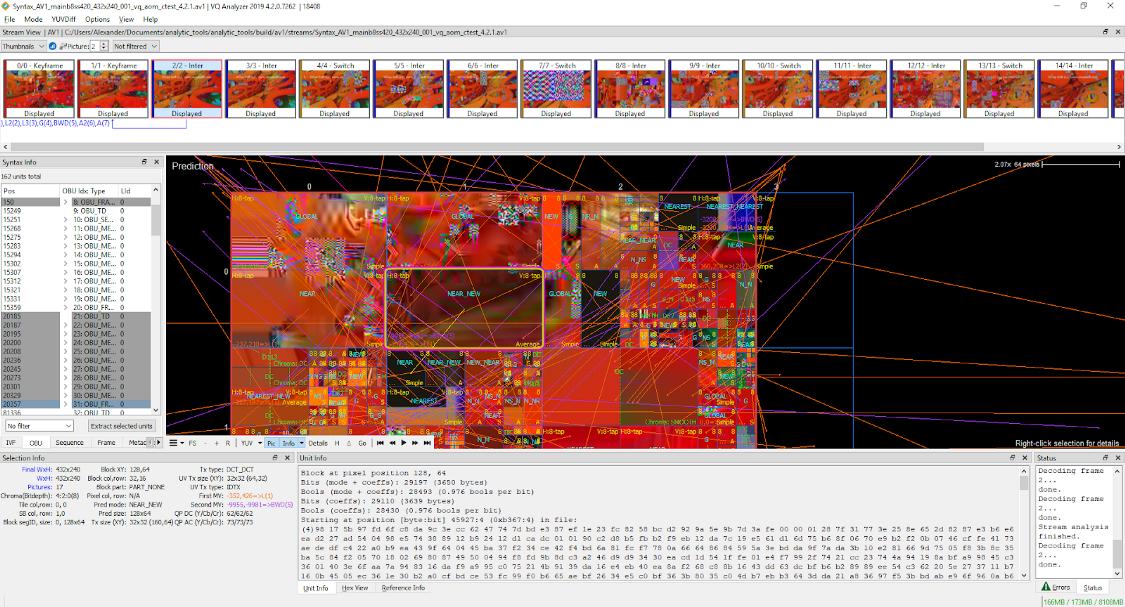 VQ Analyzer 4.2.0 (AV1 ストリーム) で視覚化されたエンコード済みのストリームでの ME の表示