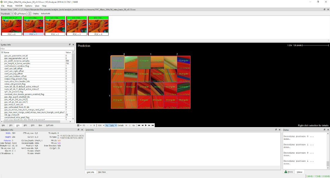 VQ Analyzer 4.2.0 (VVC/H.266 ストリーム) で視覚化されたエンコード済みのストリームでのイントラ予測の表示