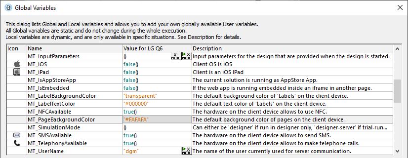 MobileTogether Designer Global Variables